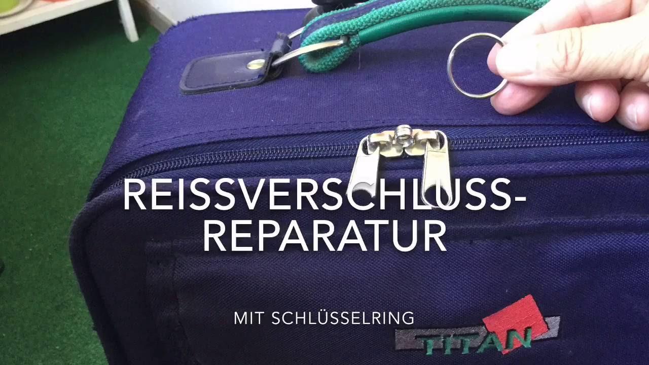 Reißverschluss mit Schlüsselring reparieren