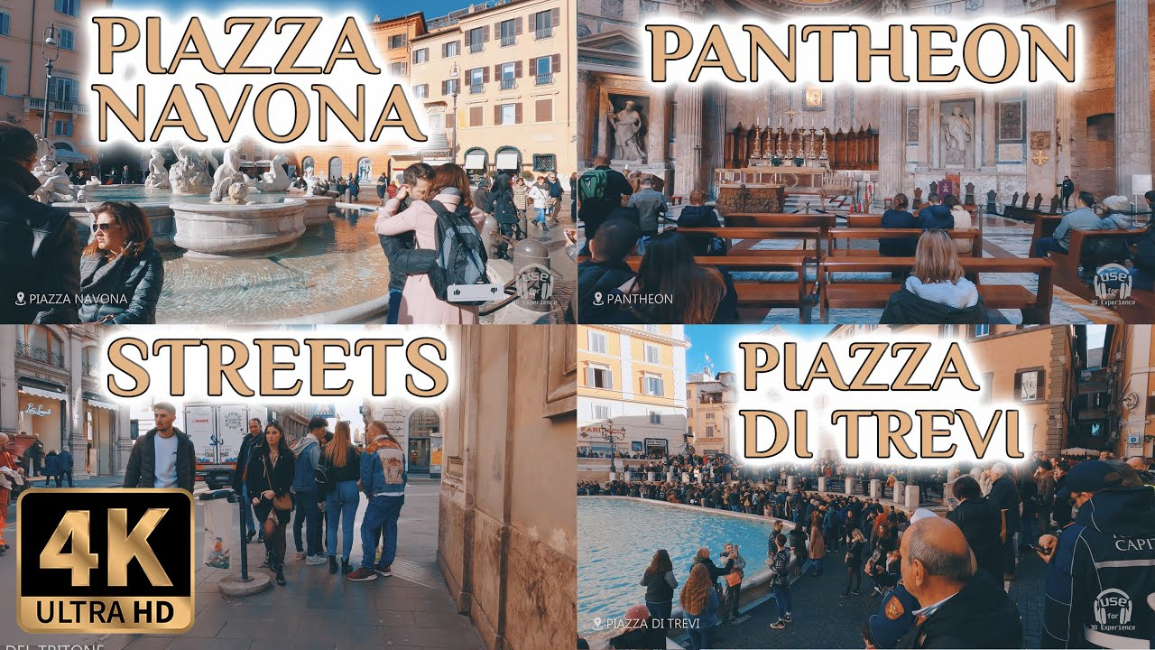 Walking around Italy Rome 4K (Piazza Navona, Trevi Fountain, Pantheon)