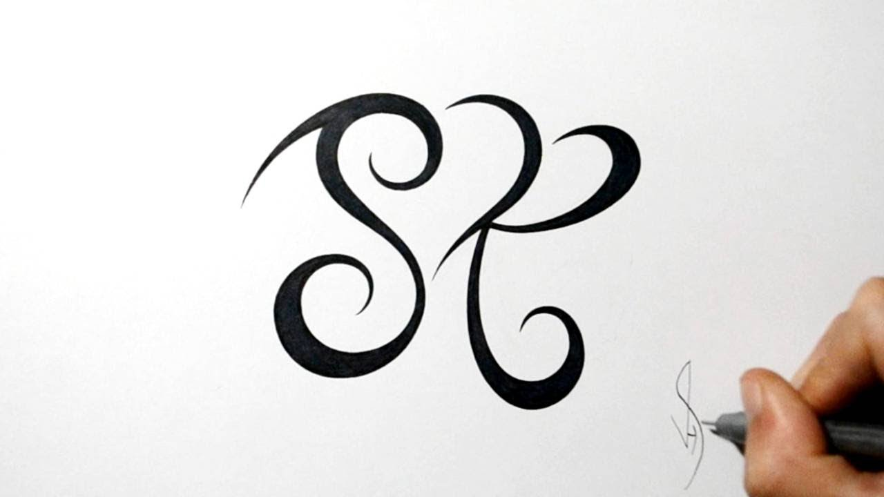 Combining Initials S And R With A Heart Design