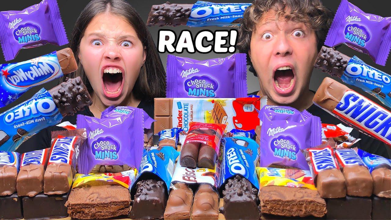 ASMR CHOCOLATE DESSERT RACE! OREO, MILKA, KINDER, SNICKERS, MILKY WAY, NESQUIK EATING SOUNDS MUKBANG