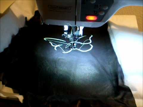 Embroidery On Leather Glow In The Dark Threadwmv Youtube