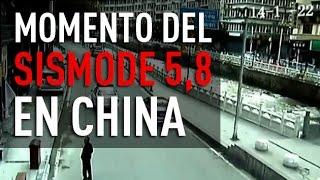 China: Cámaras de seguridad captan el momento del sismo de 5,8