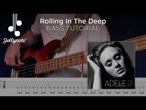 Rolling In The Deep - Adele - Play-a-long Bass Guitar Tutorial with Tabs (Jellynote Lesson)