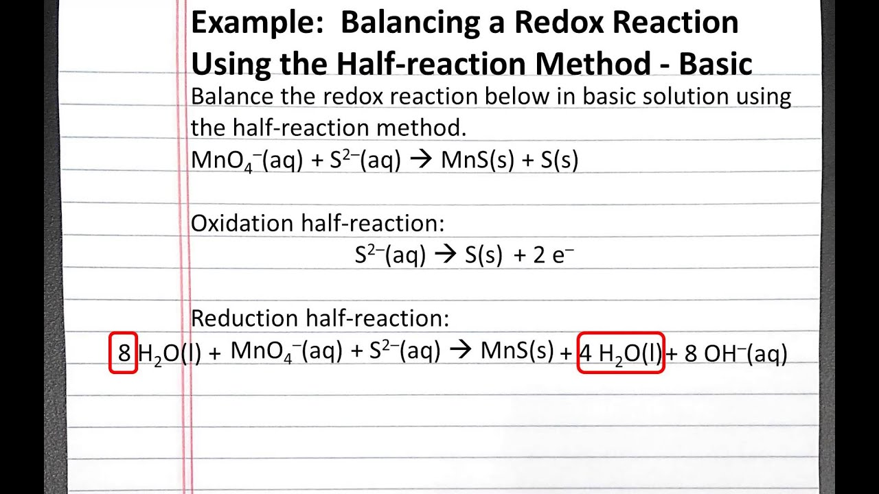 Chemistry 201 Balancing A Redox Reaction In Basic Solution Using Half Reaction Method
