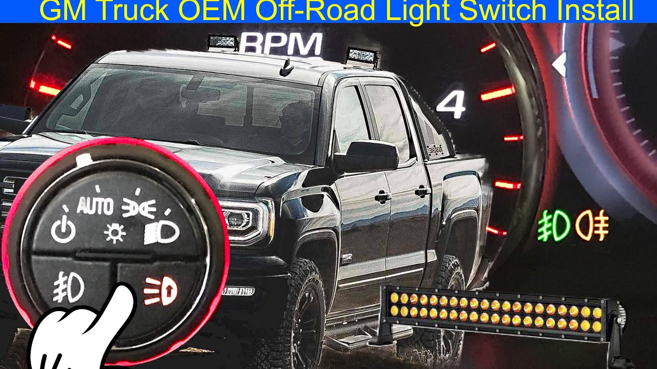 GM Truck OEM Off-Road Light Switch Install - YouTube on fog light switch toyota, fog light wiring harness, fog light wiring problem, fog light installation diagram, fog light headlight switch wiring, fog lights for bmw 1997,