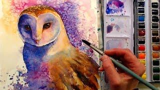 Barn Owl in Watercolor Painting Tutorial