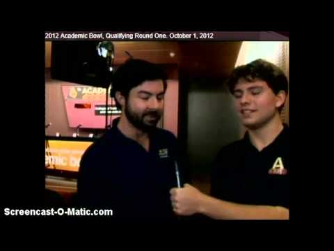 Arizona State University Academic Bowl 2012 Interview - Zak Kovach