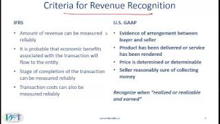 revenue recognition ifrs vs gaap Presently, gaap has complex, detailed, and disparate revenue recognition requirements for specific transactions and industries including, for example, software and real estate as a result, different industries use different accounting for economically similar transactions.