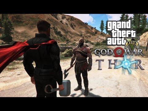 KRATOS (GOD OF WAR) VS THOR!! (GTA 5 PC MODS)