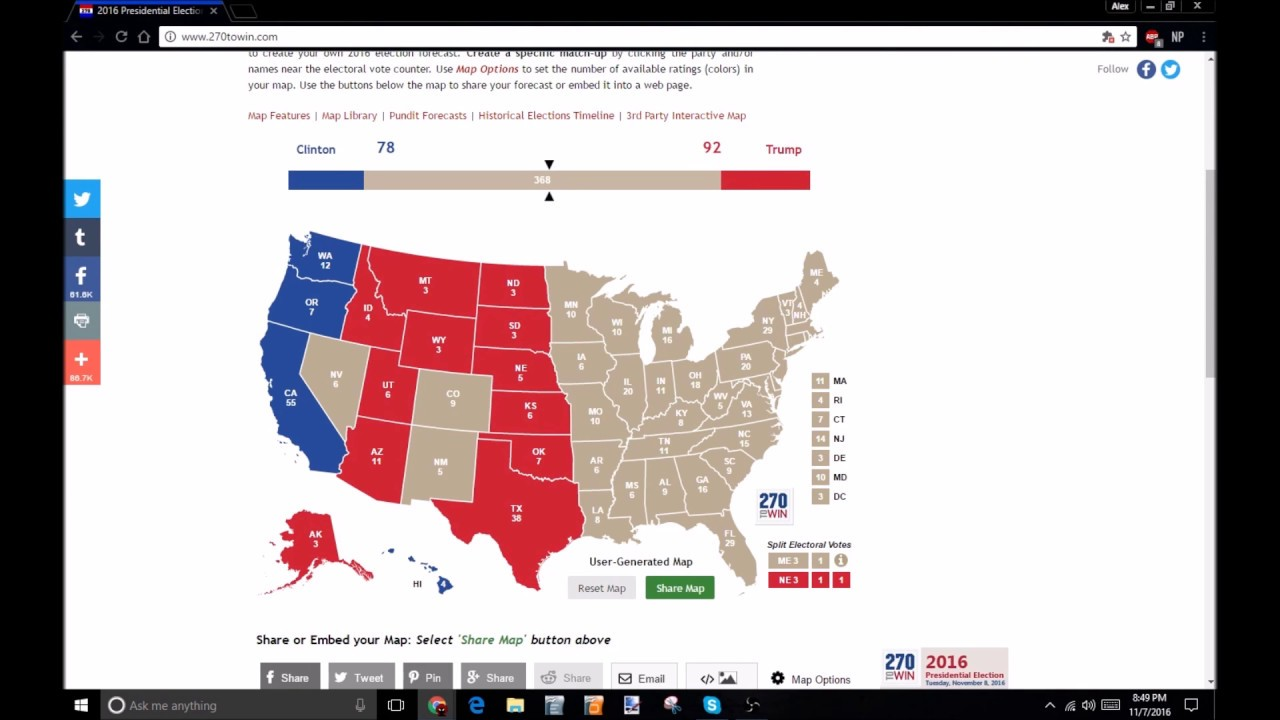 Presidential Election 2016 - Electoral Map Prediction