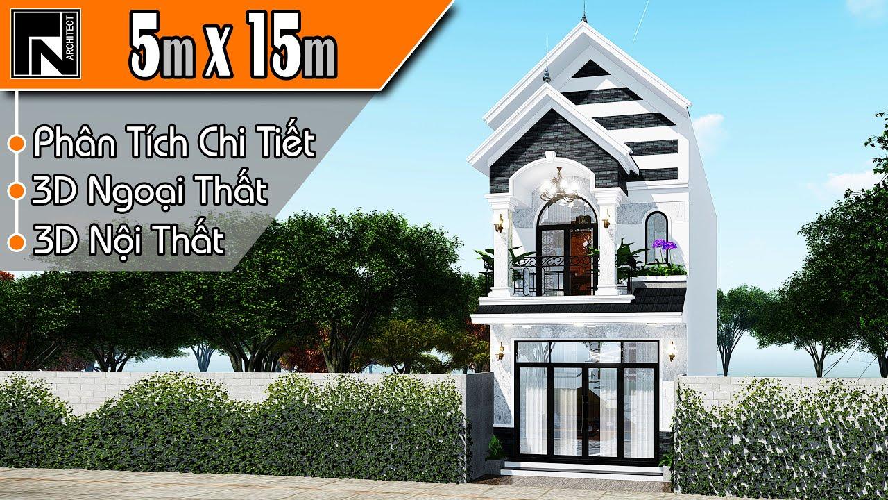 Mẫu nhà ống 2 tầng đẹp mái thái 5×15 m, 3 phòng ngủ | TNA108 | Kiến trúc TN