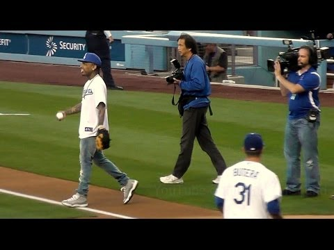 Kid Ink Throws Perfect First Pitch at Dodger Stadium 5-9-14