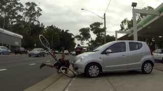 Car hit bike - BP Lane Cove - on cycleway - Jan 9th 2014