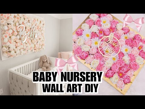 DIY: BABY NURSERY FLORAL WALL DECOR | EASY & CHEAP IDEAS FOR BABY GIRL ROOM! BABY SHOWER GIFT 👶🏽💕