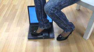 Repeat youtube video girl trample crush and jumping on laptop with high heels part1