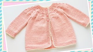 Easy Knit Baby Cardigan Sweater, Coat Or Jacket VARIOUS SIZES @Knitting For Baby