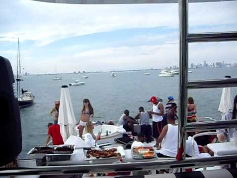 Dwight Freeney yacht party with D Affect and Simpy Jess