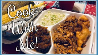 INSTANT POT PULLED PORK BBQ | Baked Beans | Hushpuppies | Cook With Me 👩🏻🍳