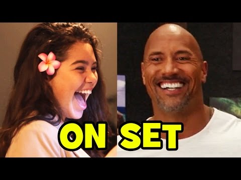 MOANA Behind The Scenes With The Voice Cast - Dwayne Johnson Aulii Cravalho B-Roll & Bloopers