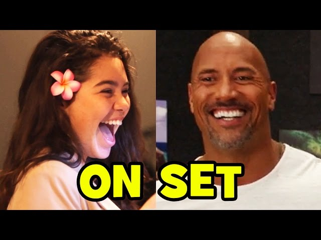 MOANA Behind The Scenes With The Voice Cast - Dwayne Johnson, Auli\'i Cravalho (B-Roll & Bloopers)