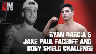 Ryan Garcia & Jake Paul Faceoff And Body Shield Challenge