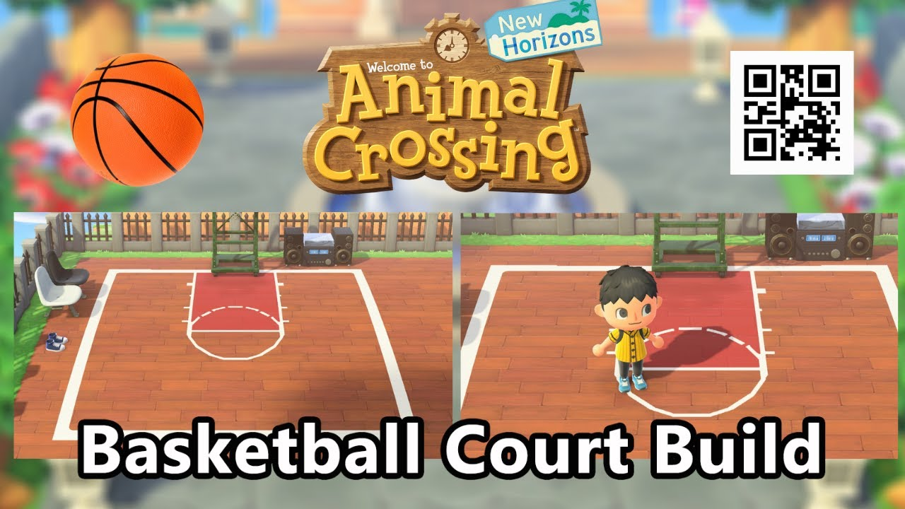 Animal Crossing New Horizons Basketball Court Build With Qr Code Youtube