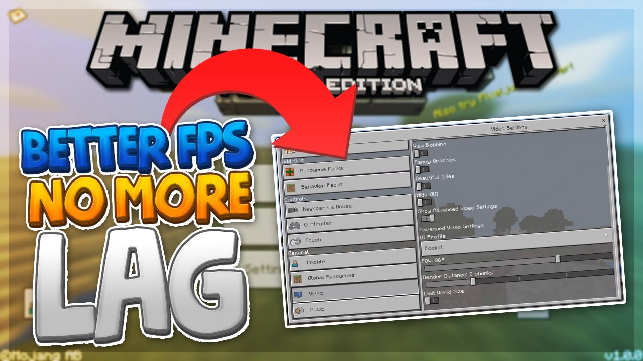 NO MORE LAG!! - How to Reduce Lag & Get Better FPS in MCPE - Minecraft PE  (Pocket Edition)