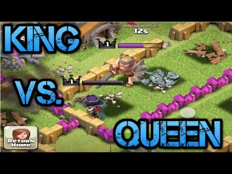 Clash of Clans- Barbarian King defends Archer Queen and 13 Giants