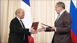 Выход к прессе глав МИД России и Франции. Полное видео