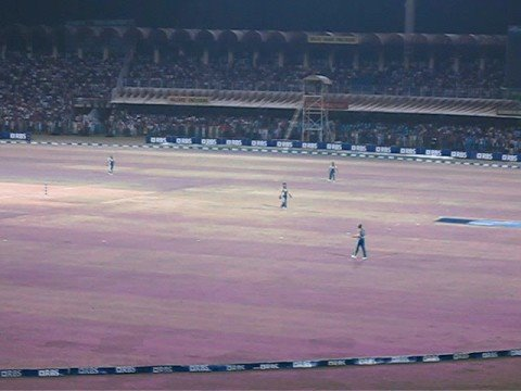FINAL OVER - RBS 20-20 Cricket Gaddafi Stadium at Night 8 Oct 2008 Lahore Pakistan