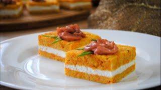 Закусочное Пирожное с Красной Рыбой на Праздничный Стол Закуска на Новогодний Стол 2020