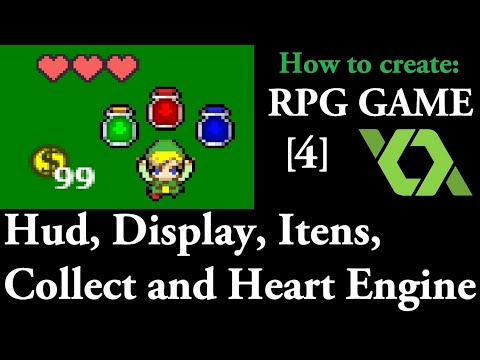 Game Maker RPG Game - Part 4: Hud, Display, Collect and Heart Engine