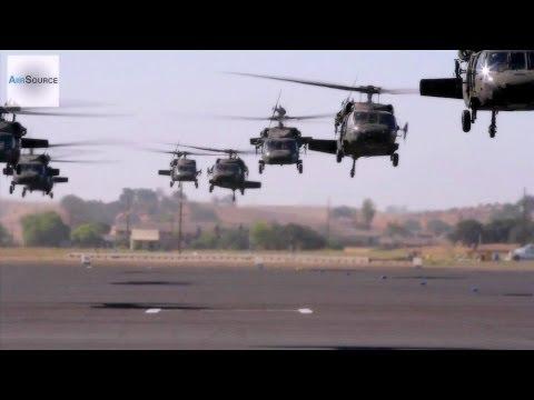 UH-60 Black Hawk & CH-47 Chinook Takeoff In Massive Formation
