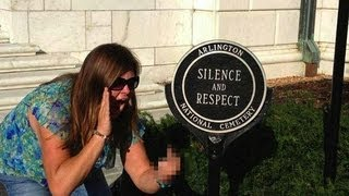 Disrespectful Picture At Soldier's Grave -  Should She Be Fired?