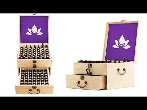 Essential Oil Box - Wooden Storage Case With Handle. 91 Slots Hold up to 147 Bottles & Roller Balls