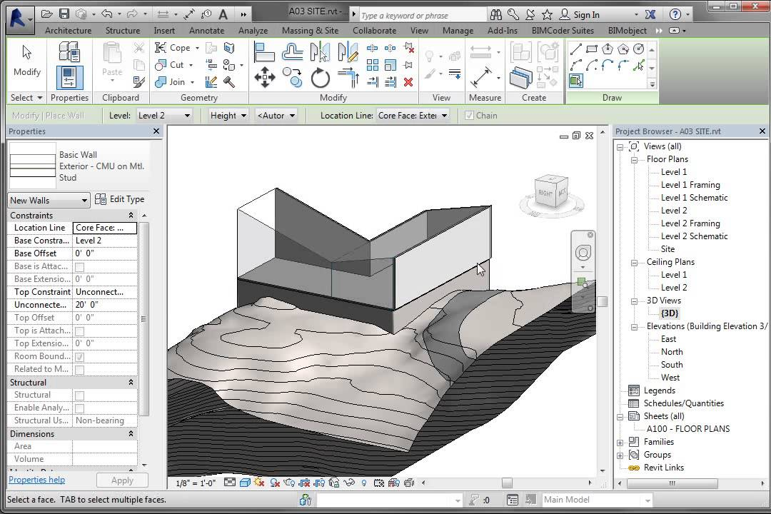 Revit Conceputal Massing 04 Wall Roof By Face Youtube