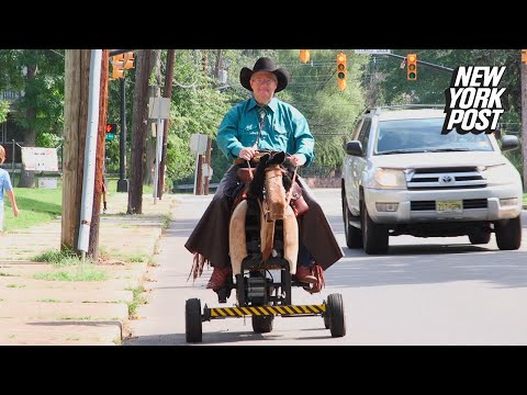 Lewis & Logan - Guy Rides Mechanical Horse Around Town