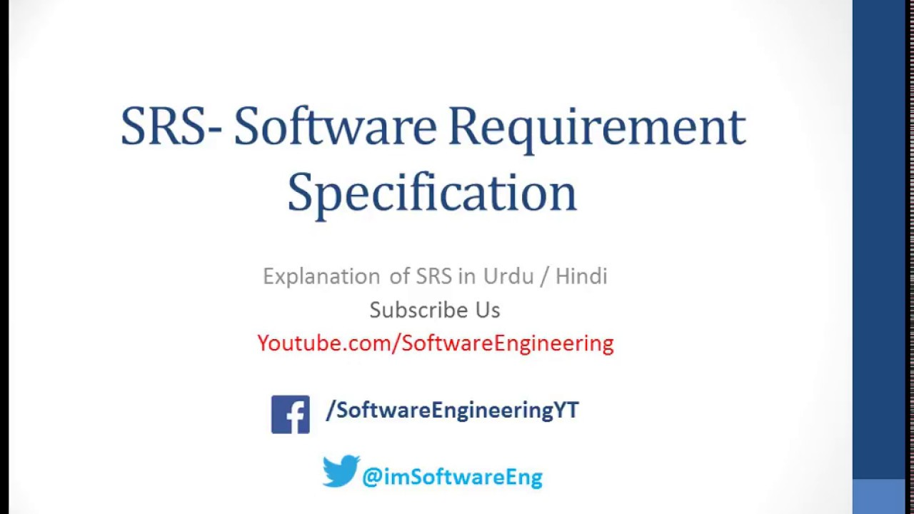 Software Requirement Specification Srs Document In Hindi Urdu Softwareengineering Youtube