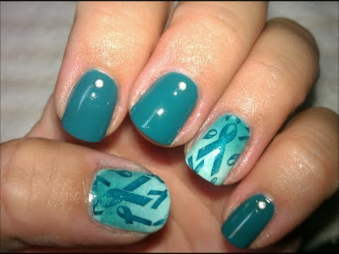 ovarian cancer awareness - nail