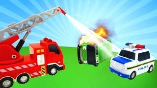 Видео с машинками (детские машинки). Мультик из игрушек АВАРИЯ  и, как #МашиныПомощники тушат пожар!
