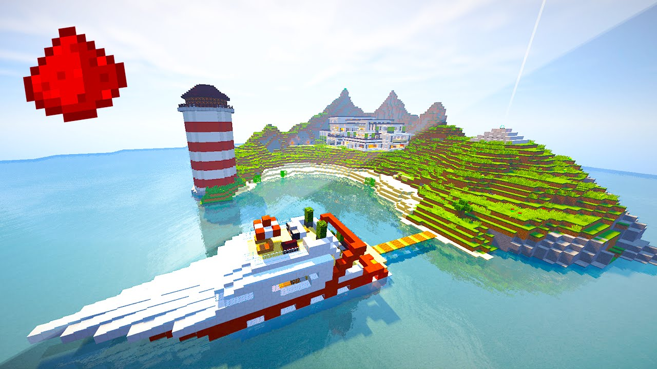 PRIVATE ISLAND REDSTONE HOUSE (Entire Island Made Of