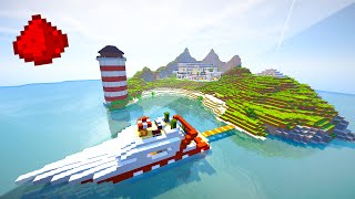 PRIVATE ISLAND REDSTONE HOUSE (Entire Island Made Of Redstone!) - Minecraft Maps