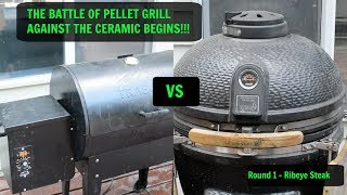 Is a Pellet Grill Better Than Charcoal?  Round 1 - Traeger vs Ceramic Komodo Steak Competition