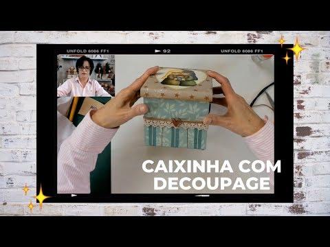 CAIXA COM DECOUPAGE SAGRADA FAMÍLIA.