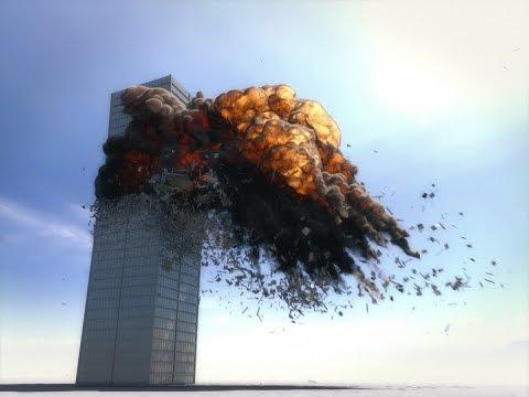 Building demolition test, created in Lightwave 11.6.  1440p HD