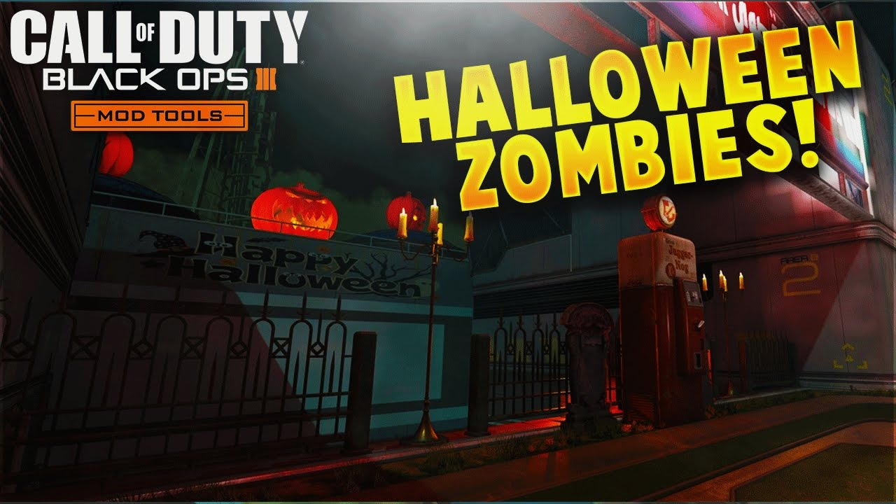 Halloween Custom Zombies on Combine at Night w/ Buy-able Ending! (BO3  Custom Zombies Mod Tools)