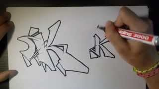 "How to draw Graffiti Letter ""K"" on paper"