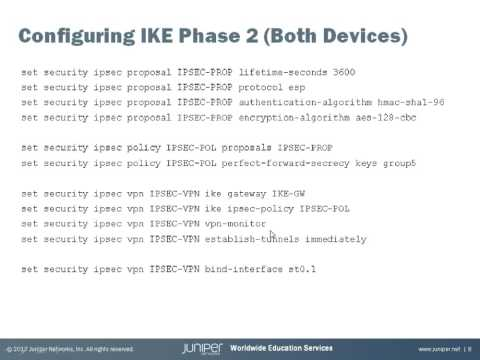 Configuring Route-Based Site-to-Site IPSec VPN on the SRX