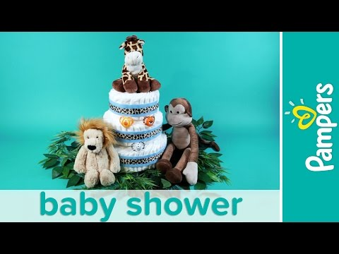 Jungle Theme Baby Shower Ideas: Stuffed Animals Diaper Cake | Pampers