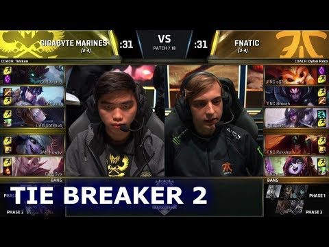 Gigabyte Marines vs Fnatic Tie Breaker 2 | Day 5 Main Group Stage S7 LoL Worlds 2017 | FNC vs IMT G3